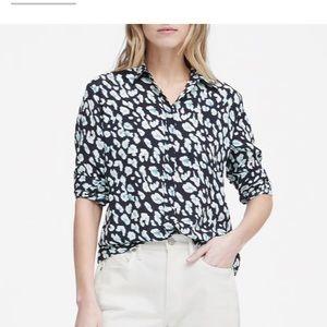 Banana Republic leopard navy blue shirt
